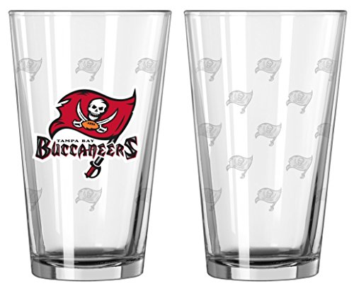 Tampa Bay Buccaneers Satin Etch Pint Glass Set