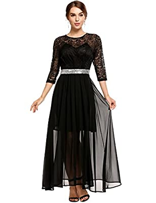 ANGVNS Women's Elegant Floral Lace 3/4 Sleeves Beaded Sequin Bridesmaid Maxi Dress