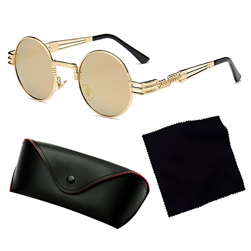 Steampunk Polarized Métal de soleil Gothique hibote Rond Lunettes WrapEyeglasses Hommes C10 Femmes 50qxBw1xY