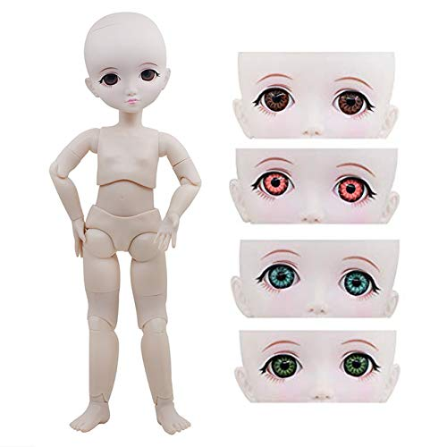 Naked 1/6 BJD Doll,29cm 11inch Ball Jointed Dolls +Basic Makeup + 5 Colors Eyes + Different Hands,Free to Change