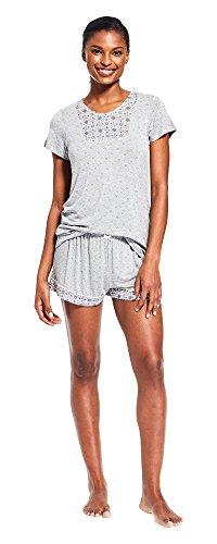 Kathy Ireland Womens Short Sleeve V Neck Shirt Shorts Pajama Sleepwear Set New Heather Grey Medium