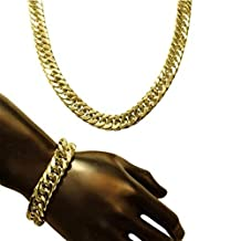 Skyjewelry Mens Thick Tight Link 24k Yellow Gold Plated Finish Miami Cuban Link Chain and Bracelet Set