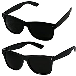 Basik Eyewear - Super Dark Lens Retro Vintage Inspired 80s Spring Hinge Wayfarer Sunglasses (2-Pack 1 Glossy / 1 Soft Black, 146)