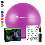 URBNFit Exercise Ball (Multiple Sizes) for Fitness, Stability, Balance & Yoga - Workout Guide & Quick Pump Included - Anit Burst Professional Quality Design (Purple, 65CM)