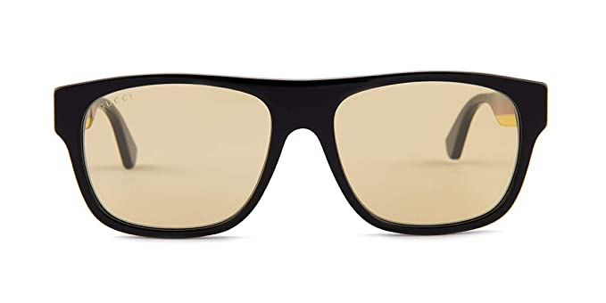 Gucci Gafas de Sol GG0341S BLACK/YELLOW hombre: Amazon.es ...