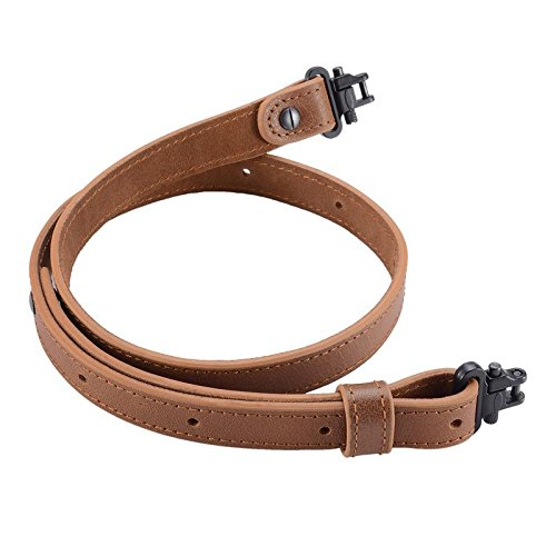 Raiseek Rifle Gun Sling Buffalo Hide Leather with Mil-Spec Swivels,Durable Gun Strap, Metal Hardware 1
