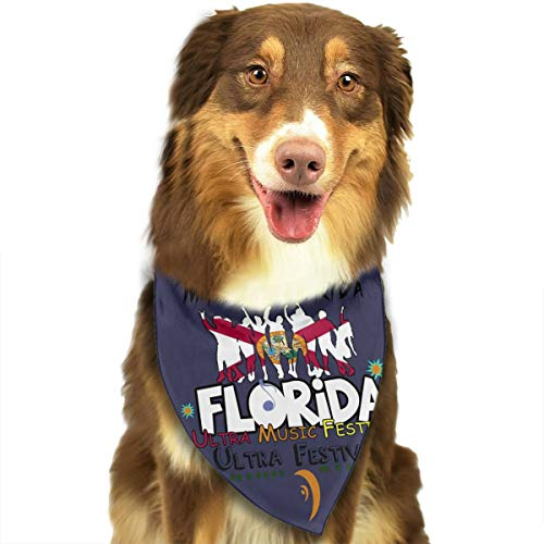 ANYWN Pet Dog Bandanas Florida Music Festival Triangle Bibs Scarfs Accessories for Puppies Cats Pets Animals Large Size