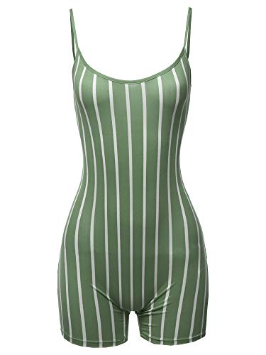 Awesome21 Pin-Stripe Spaghetti Strap Sexy Bodysuit Biker Short Jumpsuit Olive M