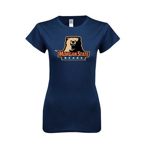 Morgan State Next Level Ladies SoftStyle Junior Fitted Navy Tee 'Morgan State Bears w/Bear'