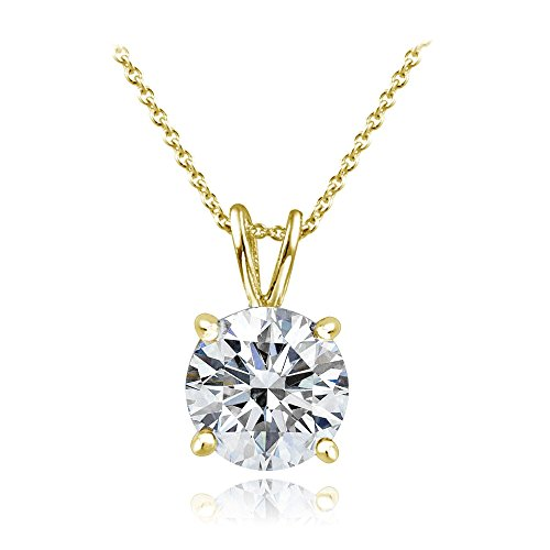 Bria Lou Yellow Gold Flashed 925 Sterling Silver 100 Facets Cubic Zirconia Solitaire Pendant Necklace, 18