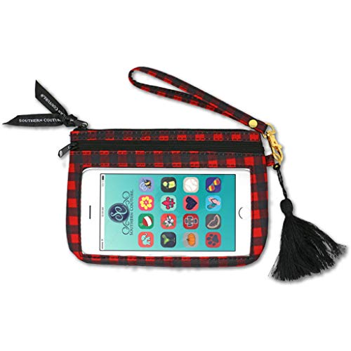 Buffalo Plaid Midnight Black and Red 8 x 5 Fabric Phone Wristlet Handbag