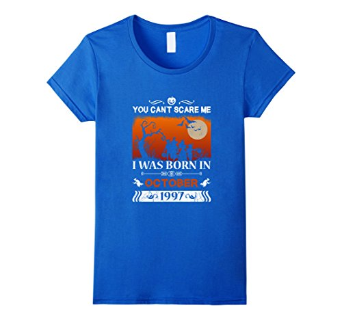 Halloween Costume Ideas 20 Yr Old (Womens Born in October, 1997 - 20th Birthday - Halloween T-shirt Small Royal Blue)