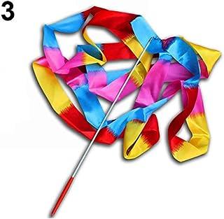 HATCHMATIC New 4M coloré de Danse Ruban Gym Rythmique Art Gymnastic Streamer Fouet Rod: Flamme colorée