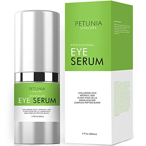 Best Eye Serum for Wrinkles, Fine Lines, Dark Circles, Puffiness, Bags, Hydrating Repair for Dry Skin and Loss of Elasticity, 75% ORGANIC INGREDIENTS with Hyaluronic Acid, Jojoba Oil, MSM, Peptides