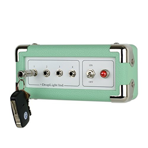 Guitar Amp Wall Key Holder with 4 Keychains. Amp Inspired. American Made by DropLight Ind. (Seafoam)