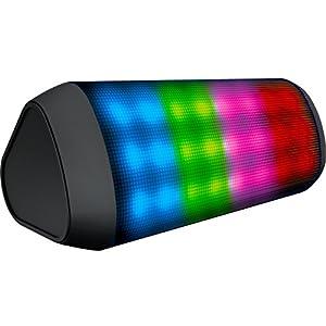Sharper Image SBT616BK Sound-Responsive Wireless Bluetooth Speaker with LED Lights, Black