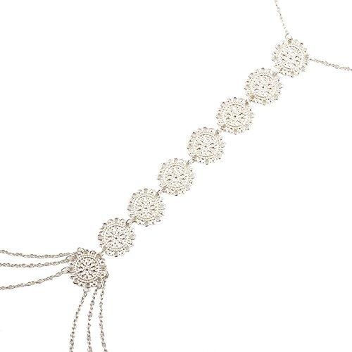 JeVenisSexy HarnessBikiniBralette BodyChainsCrossover Harness Waist Belly Body Chain Necklace (Silver) by JeVenis (Image #2)