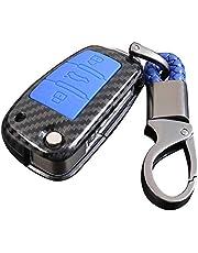 Happyit Obudowa z włókna węglowego ABS + silikonowa obudowa na kluczyki samochodowe pokrowiec brelok do Audi Sline A3 A5 Q3 Q5 A6 C5 C6 A4 B6 B7 B8 TT 80 S6 3 przyciski (niebieski)