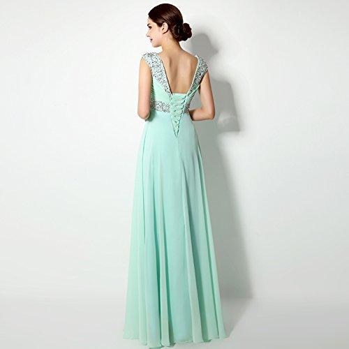 Sarahbridal Damen Lang Chiffon Ballkleid Herzenform Abendkleider Brautjungfernkleid SSD179 Fuchsie EU34
