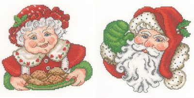 Mr & Mrs Claus Cross Stitch Chart and Free Embellishment