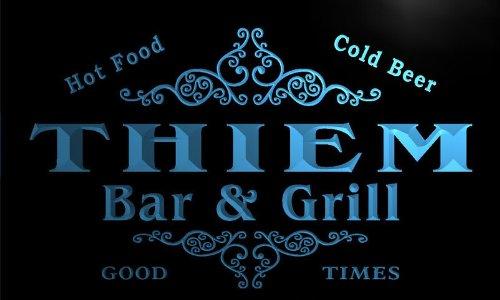 u44804-b THIEM Family Name Bar & Grill Home Decor Neon Light Sign