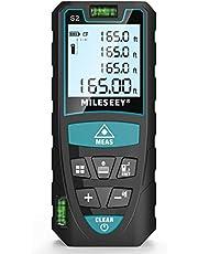 Laserafstandsmeter 50M, Mileseey Lasermaatregel met 2 Bellenniveaus & LCD-achtergrondverlichting, m/in/ft/ft + in Vanuit Pythagoras, Lengte Oppervlakte Volume, IP54 met Draaglus & Batterijen