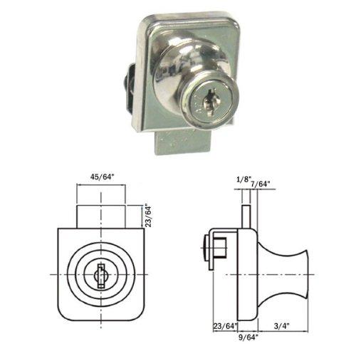 (No-Drill Single Glass Door Lock for Swinging Single Glass Door - Nickel Finish)