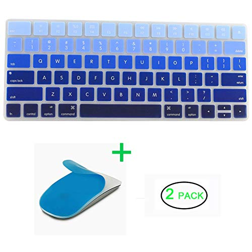 JIFF 2 in 1 Bundle - Silicone soft skin protector covers for Apple Magic Keyboard (MLA22LL/A) with US Layout and MAC Apple Magic Mouse (Blue)