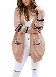 Btfbm Women Boho Long Sleeve Open Front Knit Cardigan With Pockets Bohemian Knitted Sweater Outwear Coat Tops Pink Large