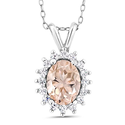 Gem Stone King 925 Sterling Silver Peach Morganite Pendant Necklace 1.24 Ct Oval with 18 Inch Silver Chain