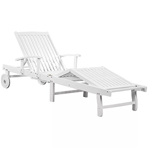 Fesjoy Sun Lounger Adjustable Reclining Wooden Sunlounger Garden Deck Chair Solid Teak Wood Patio Sunbed Beach Chair Pool Sauna Furniture 200 x 68 x 30-83 cm (L x W x H) White