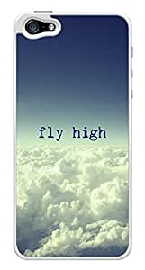 Clouds Sky Fly High Inspirational Snap-On Cover Hard Plastic Case for iPhone 5/5S (White) by lolosakes