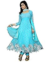 Purva Art Women's Latest Georgette Semi-Stitched Sky Blue Color Dress (PA_65_Sky Blue_Cutwork_Dress_Work_Embroidery _Color_Blue)
