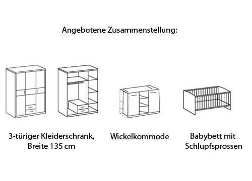M/ädchen Babybett Babym/öbel wei/ß brombeer lifestyle4living Babyzimmer Wickelkommode Junge Kinderzimmer Komplett-Set Kleiderschrank