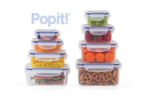 Popit Little Big Box Food Plastic Container Set, 8 Pack