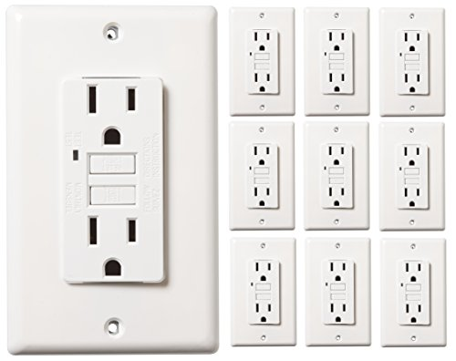 Faith 15-Amp Self-Testing GFCI Outlet with Indicator Light, Wall Plate Included, White, 10-Pack