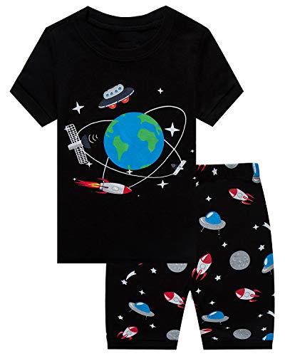 Boys Pajamas Space Short Toddler Clothes Kids Pjs Sleepwear Summer Shirts Size 6T