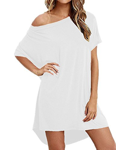 Imysty Women's Short Sleeve Casual Loose Home Cotton T shirts Short Mini Dress (Large, White)