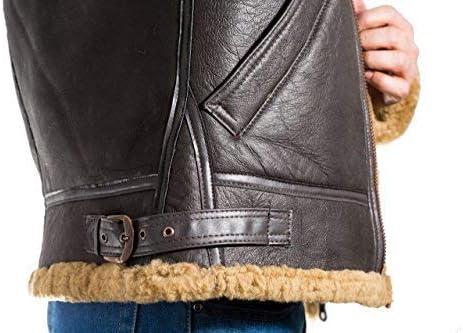 A to Z Leather para Hombre de Brown Aviador B3 Piel de Oveja Chaqueta de piloto WW2 del Vuelo con la Piel de Jengibre