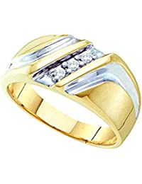 10kt yellow two tone gold mens round diamond wedding anniversary band ring 110 cttw 01 cttw i2 i3 clarity color - Mens Wedding Rings Gold