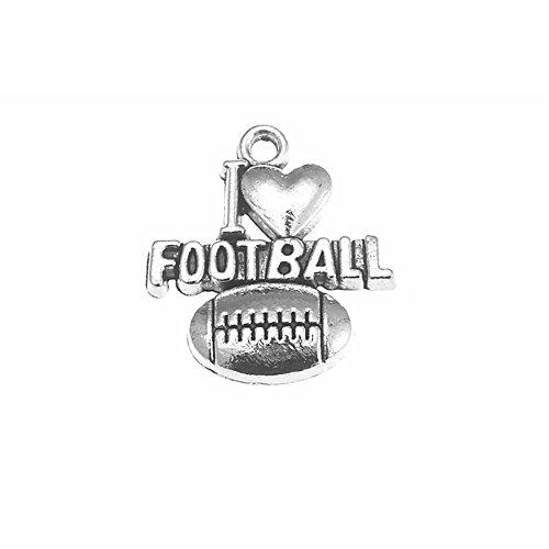 42Pcs I Love Football Charms DIY Jewelry Making Pendant Fit Bracelet Necklace Vintage]()