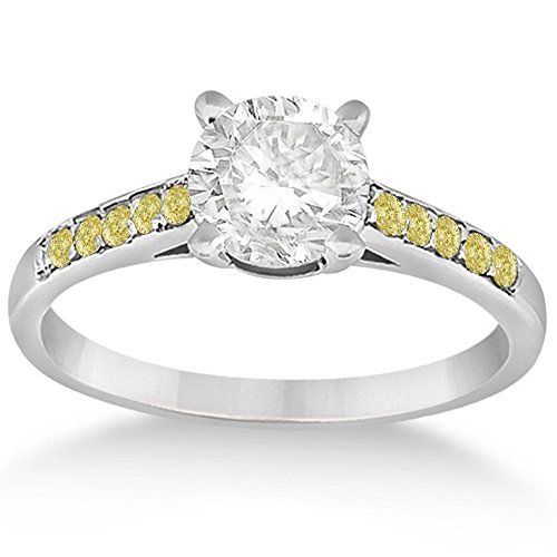 0.20 Carat Cathedral Style Yellow Diamond Engagement Ring Setting in 14k White Gold