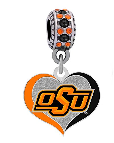 Oklahoma State University Swirl Heart Charm Fits European Style Large Hole Bead Bracelets by Final Touch Gifts