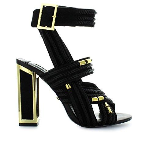 Doré Femme Maconie Noir été Arabella Cordes Chaussures 2018 Sandale Kat Printemps q6YE00