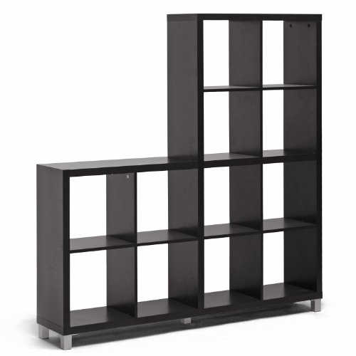 Baxton Studio Sunna Modern Cube Shelving Unit, Dark Brown