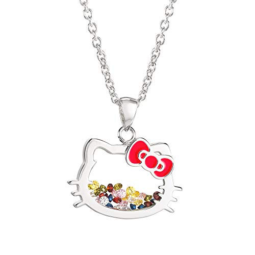 Hello Kitty Jewelry for Girls, Silver Plated Shaker Pendant Necklace, 18