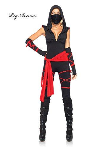 Leg Avenue Women's 4 Piece Deadly Ninja Costume, Black/Red, X-Large (Sexy Halloween Costume Stores)
