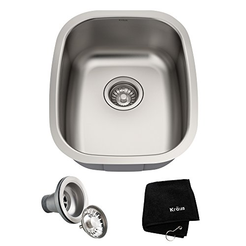 Kraus KBU16 18 inch Undermount Single Bowl 18 gauge Stainless Steel Kitchen Sink