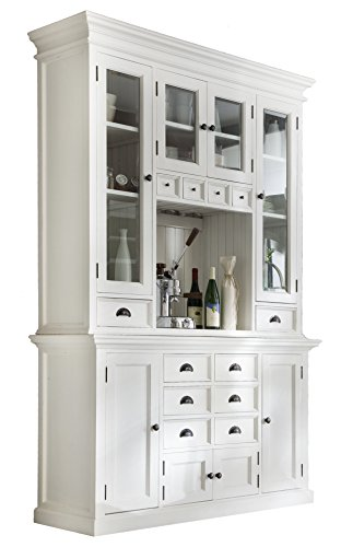 Dining Room Kitchen Hutch - NovaSolo Halifax Pure White Mahogany Wood Hutch Cabinet With Glass Doors, Storage And 12 Drawers