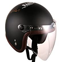 (F4 Jet-include Shield) Motorcycle Scooter Open Face 3/4 Three Quarter Jet Helmet Vintage Retro Style Helmets (Black (NO GLORY))